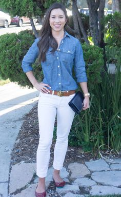3 ways to style chambray   how to wear chambray denim shirt   petite fashion and style   chambray work outfit   chambray casual outfit   chambray lounge outfit   click to read more