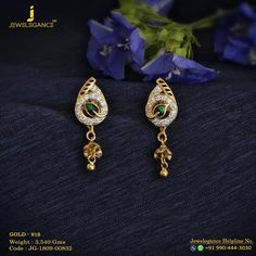 Each day diamond elegance. Get in touch with us on Gold Earrings For Kids, Gold Jewelry Simple, Gold Rings Jewelry, Jewelry Design Earrings, Gold Earrings Designs, Gold Jewellery Design, Small Earrings, Unique Jewelry, Gold Jhumka Earrings