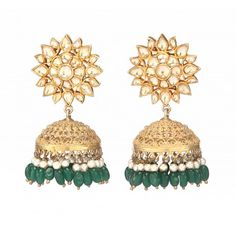 Gold plated sterling silver flower Jhumki with semi precious stones - Green Onyx, Crystal & Pearl -3 p/c with White and Green colour combinations.