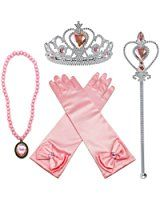 Alead Prinzessin Verkleiden Sich Aurora Rosa 4 Stück Geschenk-Set Diadem,Handschuhe,Zauberstab,Halskette