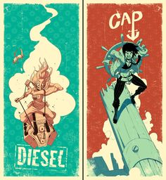 Diesel/Cap poster set by ~tysonhesse on deviantART ✤ || CHARACTER DESIGN REFERENCES | キャラクターデザイン • Find more at https://www.facebook.com/CharacterDesignReferences if you're looking for: #lineart #art #character #design #illustration #expressions #best #animation #drawing #archive #library #reference #anatomy #traditional #sketch #development #artist #pose #settei #gestures #how #to #tutorial #comics #conceptart #modelsheet #cartoon || ✤