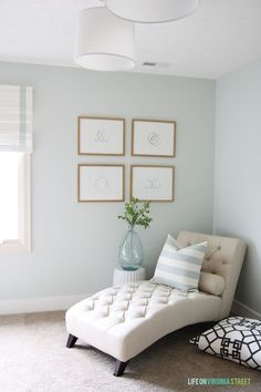 Paint color: Healing Aloe by Benjamin Moore. Love this ENTIRE listing of paint colors in this home - along with those in all their prior homes. So many great paint color ideas!