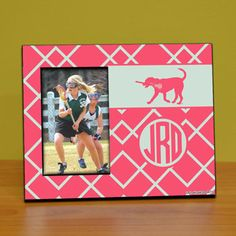 Monogrammed Lacrosse Wood Frame with Lax Dog Weave | Lacrosse Frames | Lacrosse Gifts