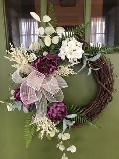 Elegant Purple Floral w/Cream accents Spring Wreath to improve your Curb Appeal