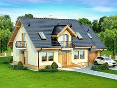 DOM.PL™ - Projekt domu DN Karmelita mała CE - DOM PC1-01 - gotowy koszt budowy Malaga, House Plans, Shed, Farmhouse, Outdoor Structures, House Design, Houses, Green, Homes