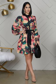 Button-down floral dress with removable waist tie and balloon sleeves. Model wearing size small Fits true to size for most Polyester Office Outfits Women Casual, Classy Outfits, Chic Outfits, Fashion Outfits, Fashion Styles, Womens Fashion, Casual Dresses Plus Size, Simple Dresses, Casual Dresses For Women