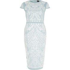 Blue foil print scuba midi column dress £50.00 Very pretty!