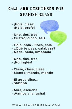 """30 call and responses for Spanish class like """"Hola hola, coca cola."""" Find a fun Spanish attention getter you can use for any age! Preschool Spanish, Spanish Activities, French Lessons, Spanish Lessons, Spanish 1, Spanish Basics, English Lessons, Teaching French, Teaching Spanish"""