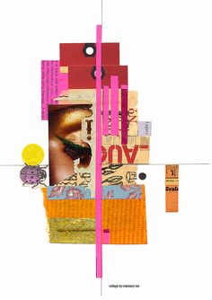 my day 220 collage (legacy) :: scrap + cut papers, sticker stock, joss paper, pencil; glued.