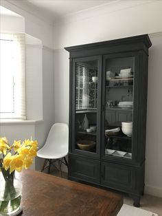 Stunning dark grey display cabinet www.livedandloved.co.uk
