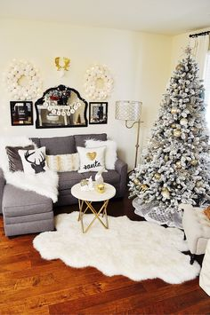 I love all the new and exciting Christmas decor I am able to find at HomeGoods every year. New this year are these furry snowball wreaths! Arranged with the moose head, and fairy lights they add so much fun and whimsey to this space! Sponsored by HomeGoods
