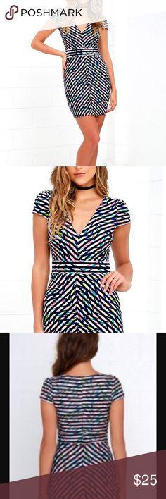 Kaleidoscope Black Print Dress 🌈 Body Con ~ multiPrint~ dress. Worn once! Zipper closure. Lulu's Dresses Mini