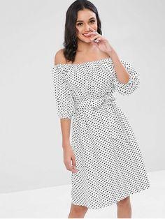 32180ea10b14 [69% OFF] 2019 Polka Dot Off The Shoulder Dress In WHITE ONE SIZE. ZAFUL