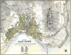 Cape Town Map Vintage South African Atlas Poster Cape Town Street Map 1884 Bar Den Wall Art Slightly aged finish, retaining the aged character of the original. One of a large collection of remastered vintage art posters I have for sale.