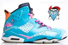 "Air Jordan VI ""Miami Vice"" Customs by Smooth Tip 38500c27e"