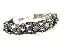 Silver celtic bracelet cuff made of braids by NurrgulaJewellery, $83.00