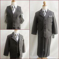 Charcoal/Dark grey toddler teen graduation bridal party boy formal suit tie set #designerkidsfashion888 #CharcoalLightGreyFormalSuitPants #DressyHolidayPageantWedding