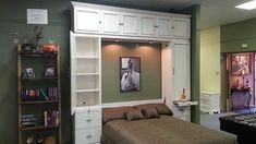 This is a murphy bed that I built.  I added bookcases to the top and on the side, so there is lots of storage.   There is a hiddend desk in the face.  I actually inset this desk so that the doors...