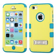 MYBAT TUFF Hybrid M-Stand Case for iPhone 5C - Baby Yellow/Teal
