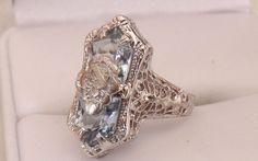 Estate 14K Art Deco Style Topaz Filigree Ring by EclairJewelry