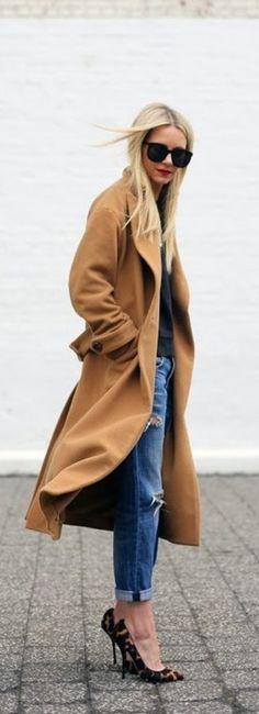 Camel coat + leopard heels.