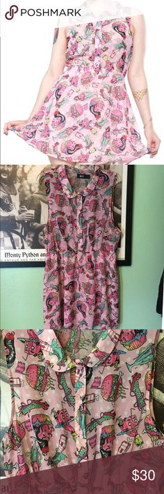 Iron Fist Zombie Diner dress XXL Dress from Iron Fist size XXL. Worn twice. Pink dress with button up front and collar. Sheer top, lined skirt. Elastic waist. Iron Fist Dresses