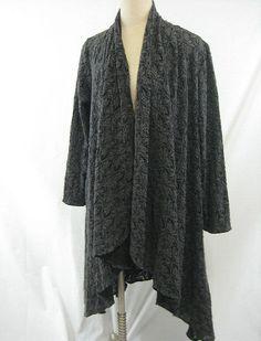 Spirithouse Long Cardigan Sweater Size M Gray Lace Crochet Knitwear Floral #Spirithouse #ArtisianLongJacket