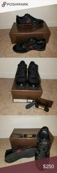 Men Authentic GUCCI sneakers Black sneakers worn twice. Original box, extra shoe strings, and shoe horn. Price negotiable Gucci Shoes Sneakers