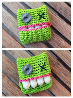 Dotty - (possibly tooth loss once in the month) - monster crochet tampon holder *FREE Pattern* Crochet Home, Love Crochet, Diy Crochet, Crochet Crafts, Yarn Crafts, Crochet Projects, Sewing Projects, Knitting Patterns, Crochet Motif