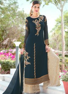 Buy Attractive Teal Green Colored Designer Embroidered Partywear Georgette Palazzo Suit at Rs. Get latest Palazzo suit for womens at Peachmode. Pakistani Suits, Pakistani Dresses, Indian Dresses, Indian Outfits, Punjabi Suits, Salwar Suits Party Wear, Anarkali Suits, Designer Salwar Suits, Designer Dresses