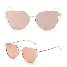Transer Fashion Twin-Beams Classic Women Metal Frame Mirror Sunglasses Cat Eye Glasses Black