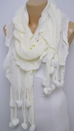 White Knitted Scarf  Pompom Scarf Wool Scarf  Cowl by LIFEPARTNER