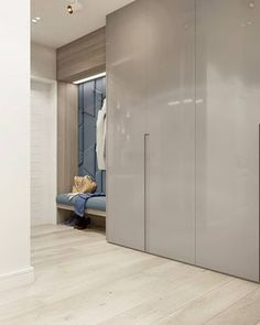 The black paneled walls and drop ceiling in this hallway lea Wardrobe Door Designs, Wardrobe Design Bedroom, Modern Bedroom Design, Closet Designs, Closet Bedroom, Home Bedroom, Hallway Closet, Bedroom Shelves, Entry Hallway