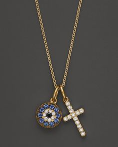 Diamond and Sapphire Cross and Evil Eye Pendant in 14K Yellow Gold, .15 ct. t.w. | Bloomingdale's