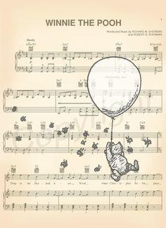 Winnie the Pooh Original Artwork Sheet Music Print by AmourPrints