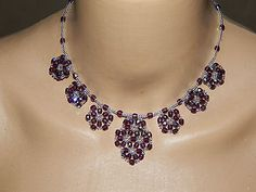 Collier perles de verre flocons améthyste facettes ab et rocailles argentées €18