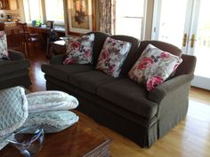 Matching 6 Cushions Sofa with Skirt and Fabricated Decorative Pillows.