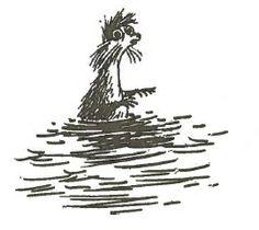 "Ti-ti-oo (Det osynliga barnet, Zweeds, ""kryp"") / Teety-woo (Tales of Moominvalley, Engels, ""the creep"") / Ti-ti-uu (Zweeds) Moomin Valley, Tove Jansson, Little My, Folk Art, Scandinavian, Creatures, Drawings, Barnet, Character"