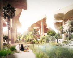 Cracked-Earth Desert Canopy Shelters Underground Oasis