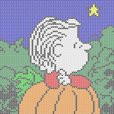 Charlie Brown great pumpkin x-stitch Plastic Canvas Tissue Boxes, Plastic Canvas Crafts, Plastic Canvas Patterns, Fall Cross Stitch, Cross Stitch Boards, Cross Stitching, Cross Stitch Embroidery, Cross Stitch Patterns, Crochet Patterns