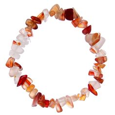 #Bracelets perles #Pierre Naturelle irrégulières pour femmes-  bracelets Stretch faits main Style Printemps/été couleurs Orange,Rouge et blanc