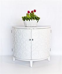 Curly Half Round Cabinet in White by Worlds Away CURLY WH