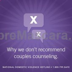 Why We Don't Recommend Couples Counseling for Abusive Relationships // Abuse is not a relationship problem #counseling #abuse #domesticviolence #expartner #love #relationship #lovesick #advice #romance #partner #breakup #rekindle #spark