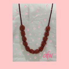 Raspberry necklace, beaded kumihimo
