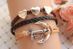 sailing braceletretro silver anchor with love by fabuloustime, $8.59