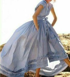 full-skirted shirt dress with high-low hem