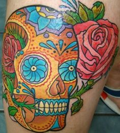 Colourful Sugar Skull Tattoo Tattoos | tattoos picture sugar skull tattoos
