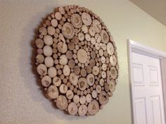 Modern Rustic Wood Slice Round Circle Spiral Wall Art