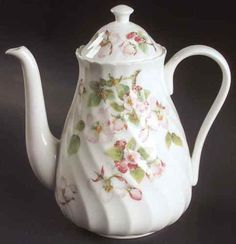 """Wedgwood Apple Blossom Coffee Pot, 6-7/8"""", 5 cups. $109.95 at replacements.com on ebay, 2/2/16"""