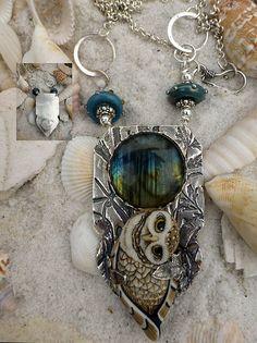 Pippen Owl custom handmade porcelain owl sterling silver necklace SRA